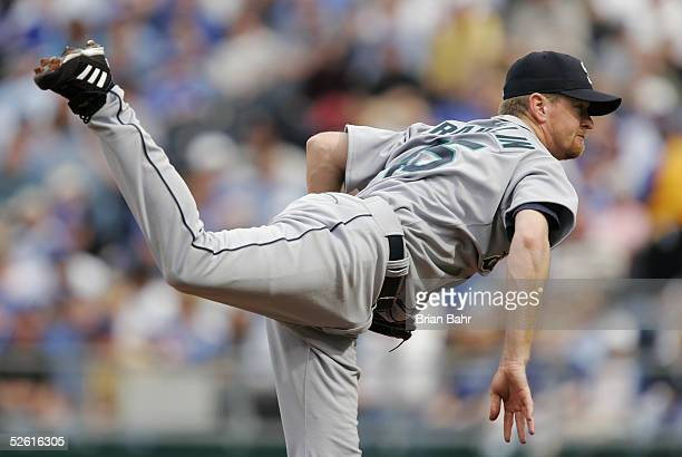 Starting pitcher Ryan Franklin of the Seattle Mariners delivers a pitch against the Kansas City Royals on an opening day April 11 2005 at Kauffman...