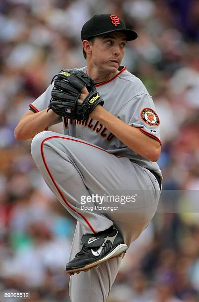 Starting pitcher Ryan Sadowski of the San Francisco Giants delivers against the Colorado Rockies at Coors Field on July 26 2009 in Denver Colorado...
