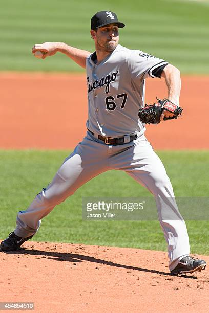 Starting pitcher Scott Carroll of the Chicago White Sox pitches during the first inning against the Cleveland Indians at Progressive Field on...
