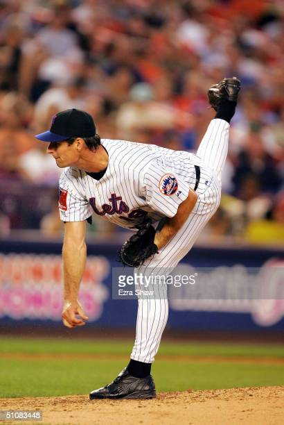 Starting pitcher Scott Erickson of the New York Mets pitches against the Florida Marlins July 19 at Shea Stadium in Flushing New York