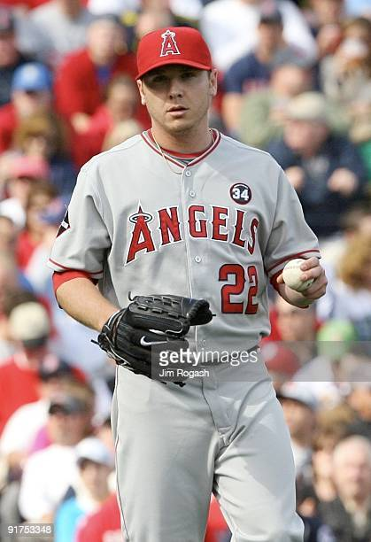Starting pitcher Scott Kazmir of the Los Angeles Angels of Anaheim looks on in the fifth inning against the Boston Red Sox in Game Three of the ALDS...