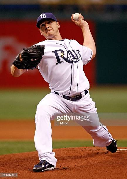 Starting pitcher Scott Kazmir of the Tampa Bay Rays pitches against the Oakland Athletics during the game on July 21, 2008 at Tropicana Field in St....