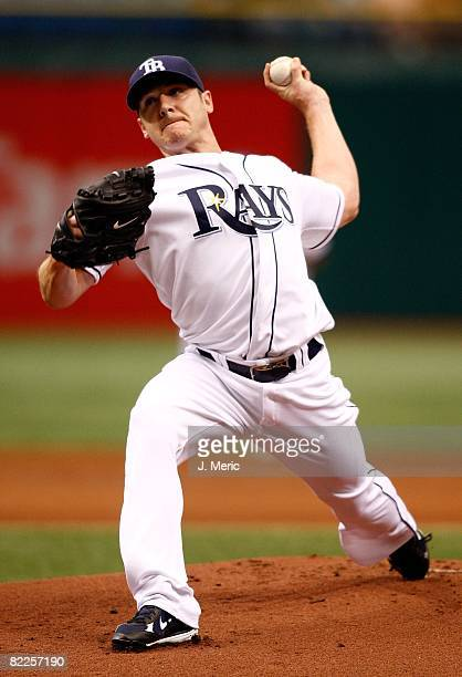 Starting pitcher Scott Kazmir of the Tampa Bay Rays pitches against the Cleveland Indians during the game on August 6, 2008 at Tropicana Field in St....