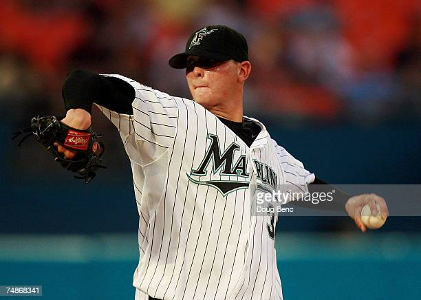 Starting pitcher Scott Olsen of the Florida Marlins pitches against the Minnesota Twins during interleague play at Dolphin Stadium on June 22 2007 in...