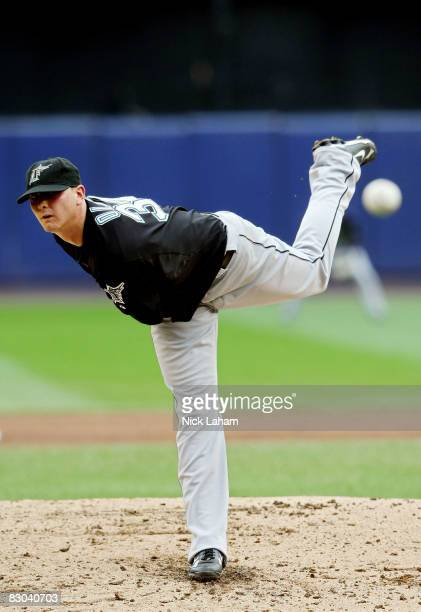 Starting pitcher Scott Olsen of the Florida Marlins pitches against the Bew York Mets during the last regular season baseball game ever played in...