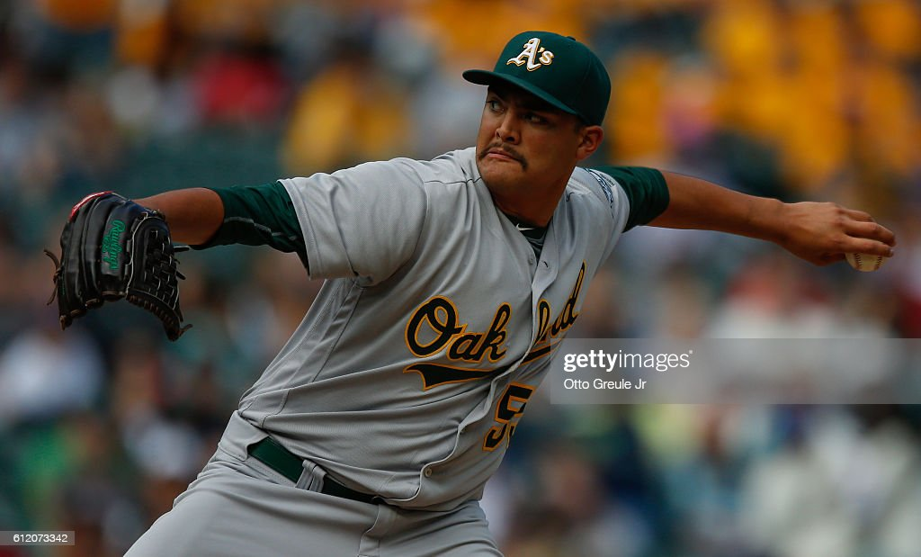 Starting pitcher Sean Manaea #55 of the Oakland Athletics pitches against the Seattle Mariners in the sixth inning at Safeco Field on October 2, 2016 in Seattle, Washington. The Athletics defeated the Mariners 3-2.