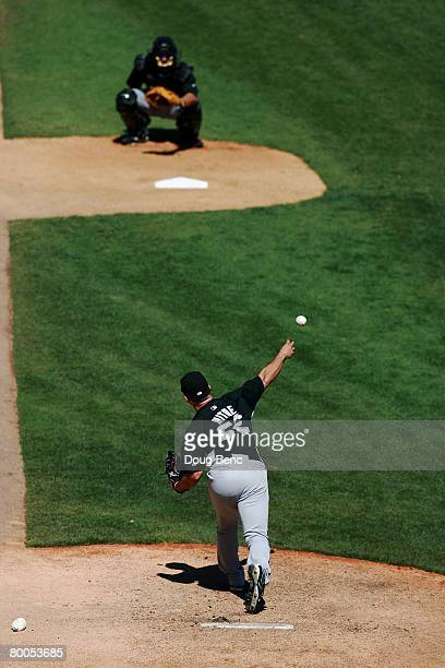 Starting pitcher Sergio Mitre of the Florida Marlins warms up prior to taking on the Baltimore Orioles at Fort Lauderdale Stadium February 28, 2008...