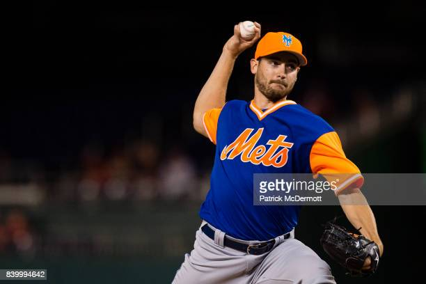 Starting pitcher Seth Lugo of the New York Mets throws a pitch to a Washington Nationals batter in the first inning during Game Two of a doubleheader...