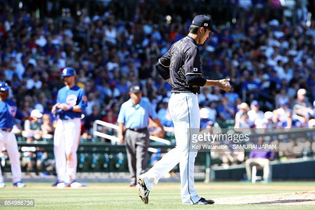 Starting pitcher Shintaro Fujinami in action during the exhibition game between Japan and Chicago Cubs at Sloan Park on March 18 2017 in Mesa Arizona