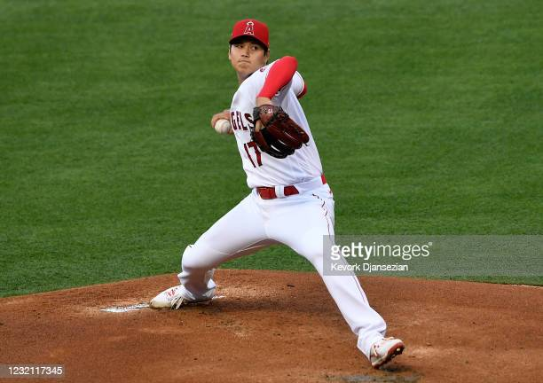 Starting pitcher Shohei Ohtani of the Los Angeles Angels throws a pitch against the Chicago White Sox during the first inning of the game at Angel...