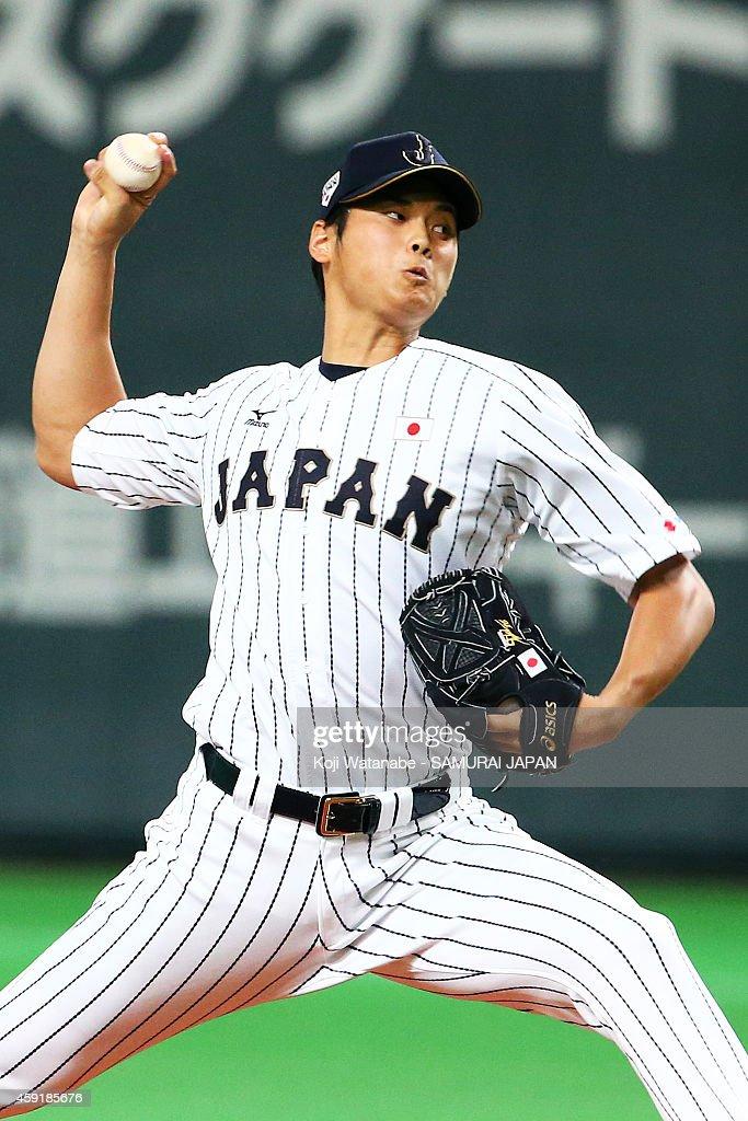 Starting pitcher Shohei Otani #16 of Samurai Japan pitches during the game five of Samurai Japan and MLB All Stars at Sapporo Dome on November 18, 2014 in Sapporo, Hokkaido, Japan.