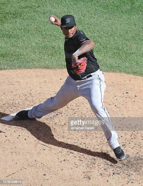 Starting pitcher Sixto Sanchez of the Miami Marlins delivers the ball against the Chicago Cubs during Game Two of the National League Wild Card...