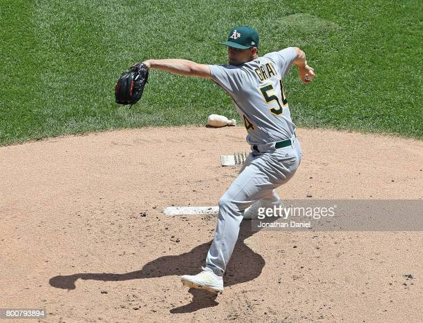 Starting pitcher Sonny Gray of the Oakland Athletics delivers the ball against the Chicago White Sox at Guaranteed Rate Field on June 25 2017 in...