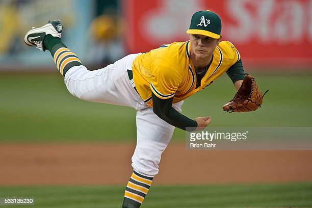 Starting pitcher Sonny Gray of the Oakland Athletics follows through on a pitch against the New York Yankees at Oco Coliseum on May 20 2016 in...