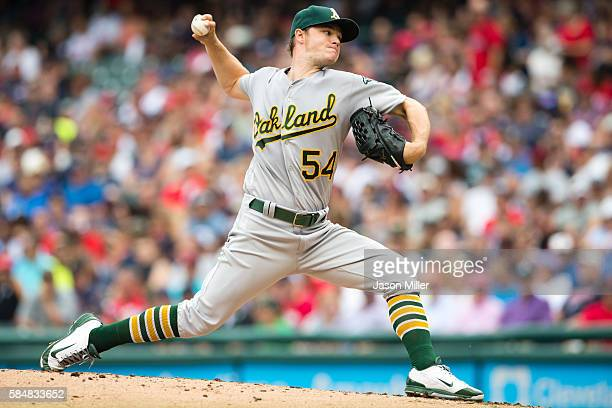Starting pitcher Sonny Gray of the Oakland Athletics pitches during the second inning against the Cleveland Indians at Progressive Field on July 31...
