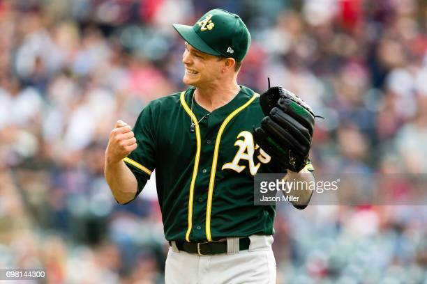 Starting pitcher Sonny Gray of the Oakland Athletics reacts after ending the second inning against the Cleveland Indians at Progressive Field on May...