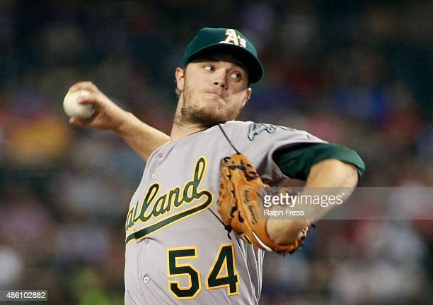 Starting pitcher Sonny Gray of the Oakland Athletics throws against the Arizona Diamondbacks during the second inning of a MLB game at Chase Field on...