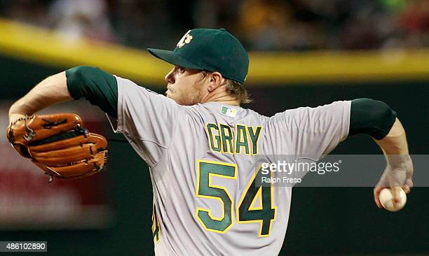 Starting pitcher Sonny Gray of the Oakland Athletics throws against the Arizona Diamondbacks during the third inning of a MLB game at Chase Field on...