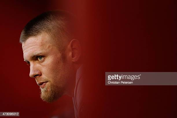 Starting pitcher Stephen Strasburg of the Washington Nationals watches from the dugout during the MLB game against the Arizona Diamondbacks at Chase...
