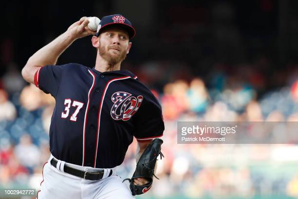 Starting pitcher Stephen Strasburg of the Washington Nationals pitches in the second inning against the Atlanta Braves at Nationals Park on July 20...