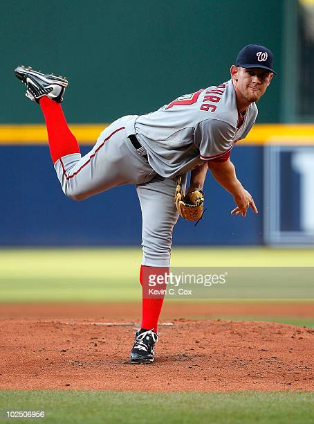 Starting pitcher Stephen Strasburg of the Washington Nationals pitches in the first inning against the Atlanta Braves at Turner Field on June 28 2010...