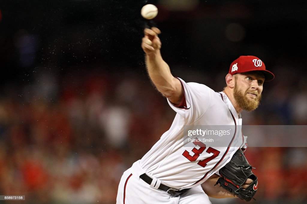 Starting pitcher Stephen Strasburg #37 of the Washington Nationals pitches against the Chicago Cubs in game one of the National League Division Series at Nationals Park on October 6, 2017 in Washington, DC.