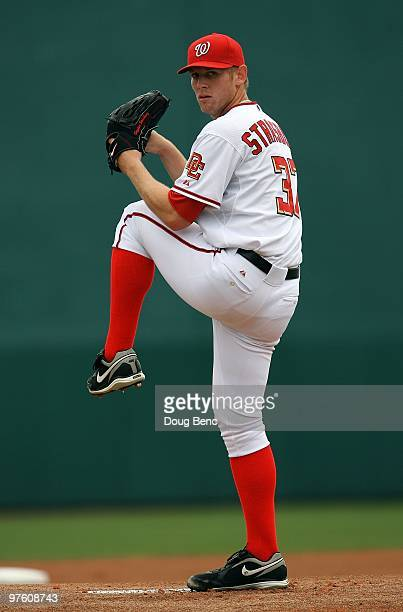 Starting pitcher Stephen Strasburg of the Washington Nationals pitches against the Detroit Tigers at Space Coast Stadium on March 9 2010 in Viera...