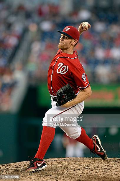 Starting pitcher Stephen Strasburg of the Washington Nationals throws a pitch against the Philadelphia Phillies in the ninth inning of a game at...