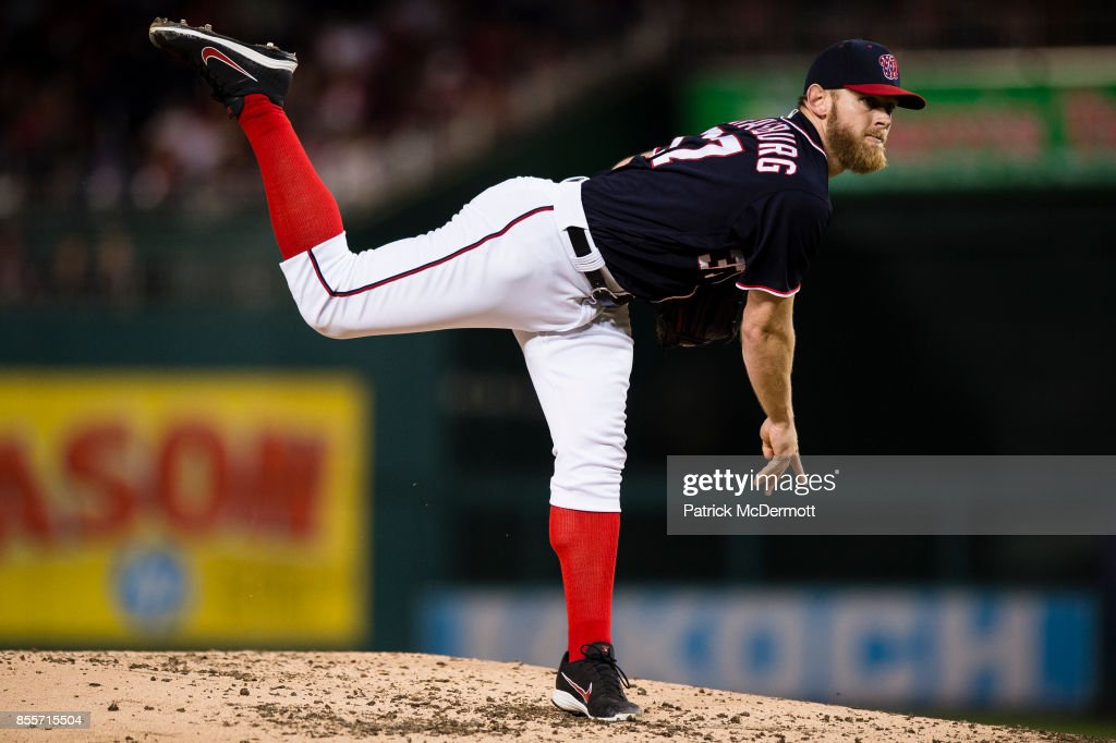 Starting pitcher Stephen Strasburg #37 of the Washington Nationals throws a pitch in the fourth inning against the Pittsburgh Pirates at Nationals Park on September 29, 2017 in Washington, DC.