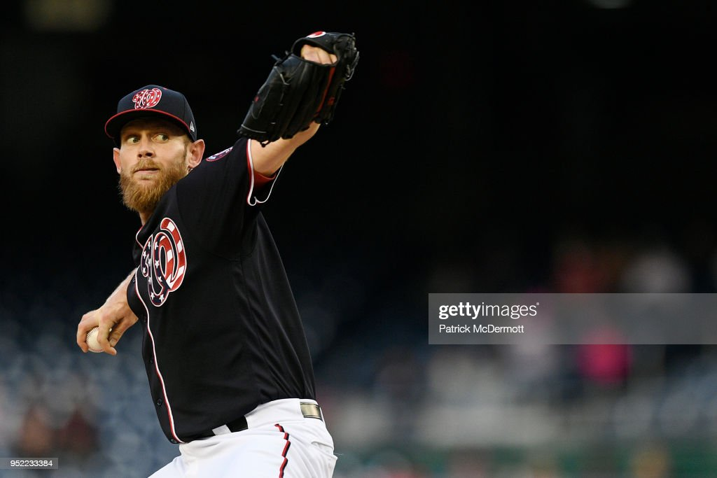 Starting pitcher Stephen Strasburg #37 of the Washington Nationals throws a pitch in the first inning against the Arizona Diamondbacks at Nationals Park on April 27, 2018 in Washington, DC.