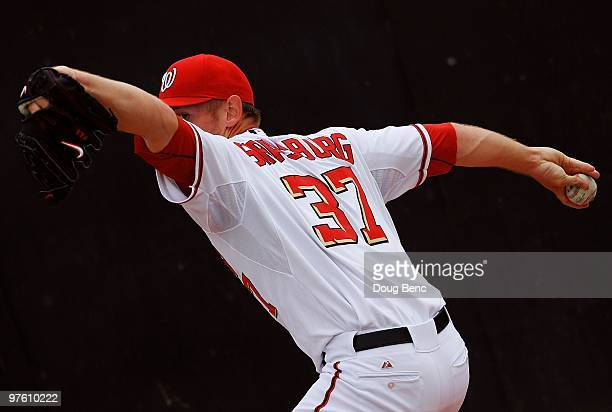 Starting pitcher Stephen Strasburg of the Washington Nationals warms up in the bullpen before facing the Detroit Tigers at Space Coast Stadium on...