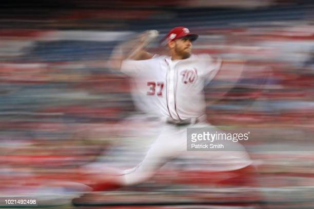 Starting pitcher Stephen Strasburg of the Washington Nationals works the first inning against the Philadelphia Phillies at Nationals Park on August...