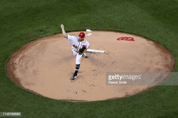 Starting pitcher Stephen Strasburg of the Washington Nationals works the first inning against the San Francisco Giants at Nationals Park on April 16...