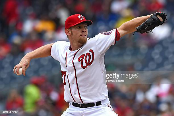 Starting pitcher Stephen Strasburg of the Washington Nationals works the first inning against the Los Angeles Dodgers at Nationals Park on May 7 2014...