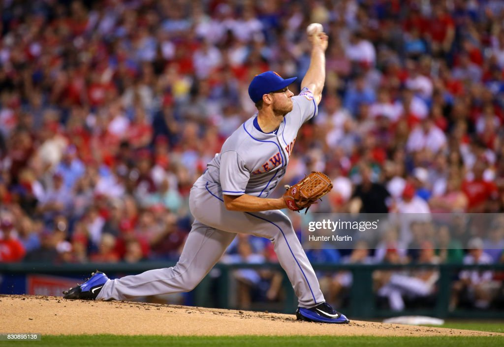 Starting pitcher Steven Matz #32 of the New York Mets throws a pitch in the first inning during a game against the against the Philadelphia Phillies at Citizens Bank Park on August 12, 2017 in Philadelphia, Pennsylvania.