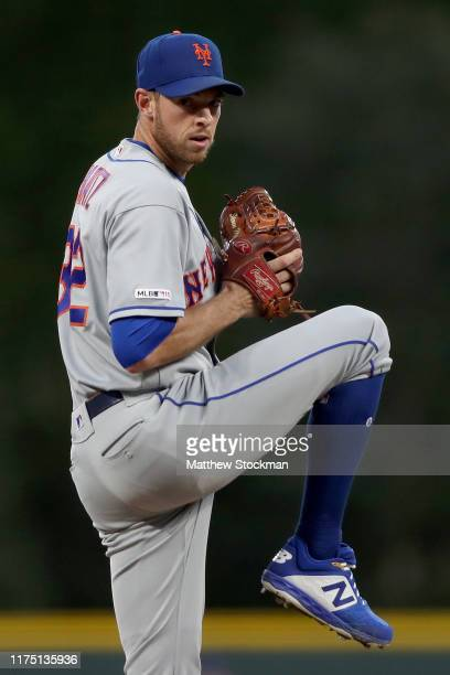 Starting pitcher Steven Matz of the New York Mets throws in the first inning against the Colorado Rockies at Coors Field on September 16, 2019 in...