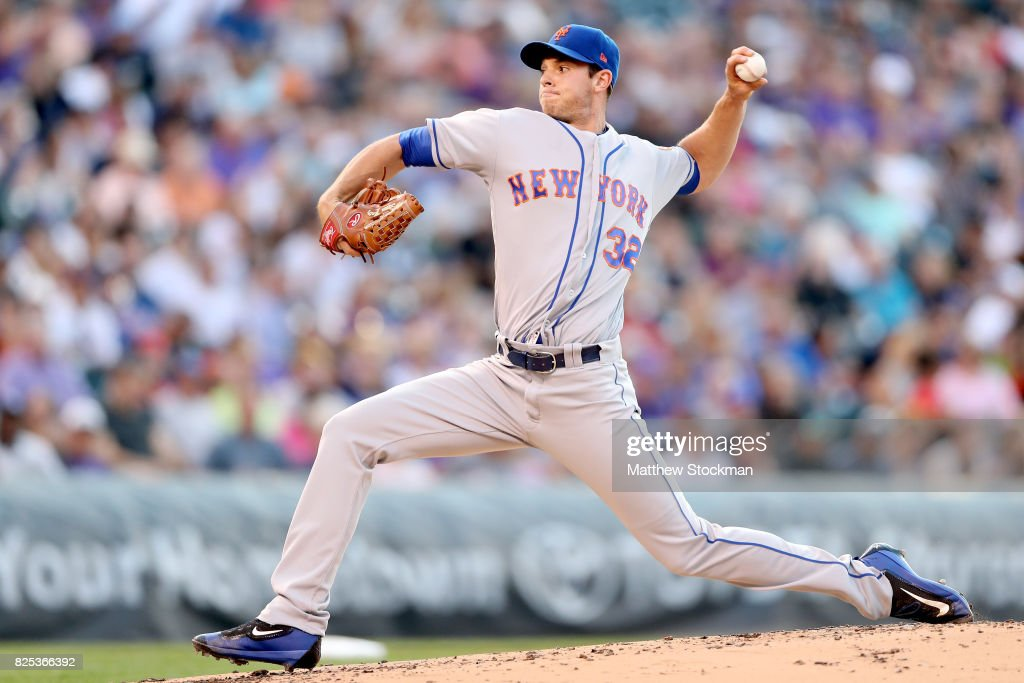 Starting pitcher Steven Matz #32 of the New York Mets throws in the second inning against the Colorado Rockies at Coors Field on August 1, 2017 in Denver, Colorado.