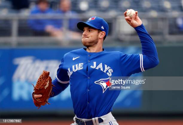 Starting pitcher Steven Matz of the Toronto Blue Jays pitches during the 1st inning of the game against the Kansas City Royals at Kauffman Stadium on...