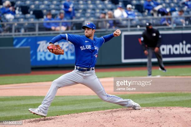 Starting pitcher Steven Matz of the Toronto Blue Jays pitches during the game against the Kansas City Royals at Kauffman Stadium on April 17, 2021 in...