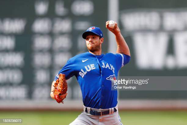 Starting pitcher Steven Matz of the Toronto Blue Jays pitches in the bottom of the first inning of the game against the Boston Red Sox at Fenway Park...