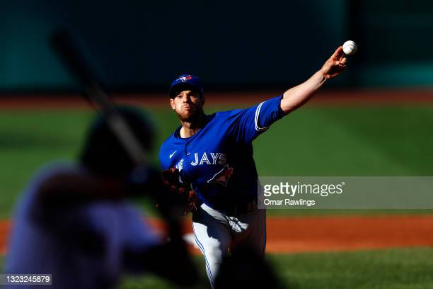 Starting pitcher Steven Matz of the Toronto Blue Jays pitches in the bottom of the fifth inning of the game against the Boston Red Sox at Fenway Park...