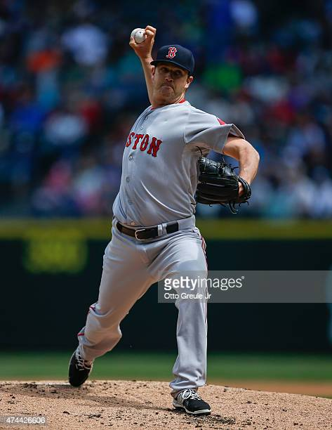Starting pitcher Steven Wright of the Boston Red Sox pitches against the Seattle Mariners at Safeco Field on May 17 2015 in Seattle Washington