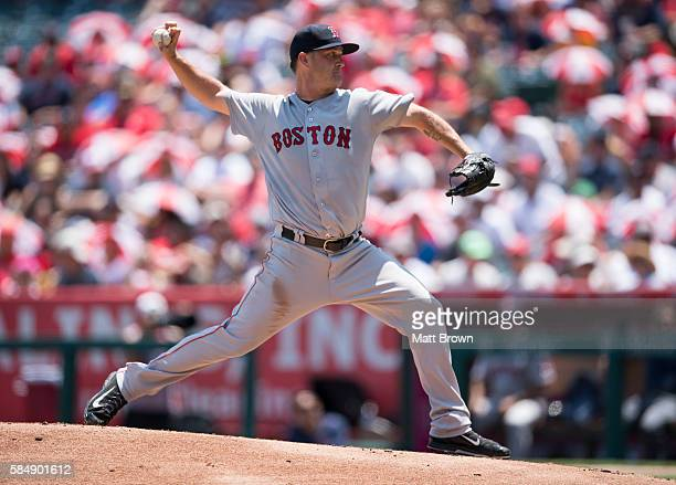 Starting pitcher Steven Wright of the Boston Red Sox pitches during the first inning of the game against the Los Angeles Angels of Anaheim at Angel...