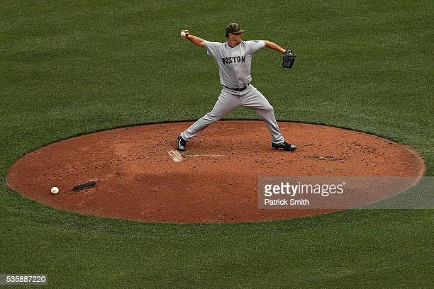 Starting pitcher Steven Wright of the Boston Red Sox works the second inning against the Baltimore Orioles at Oriole Park at Camden Yards on May 30...