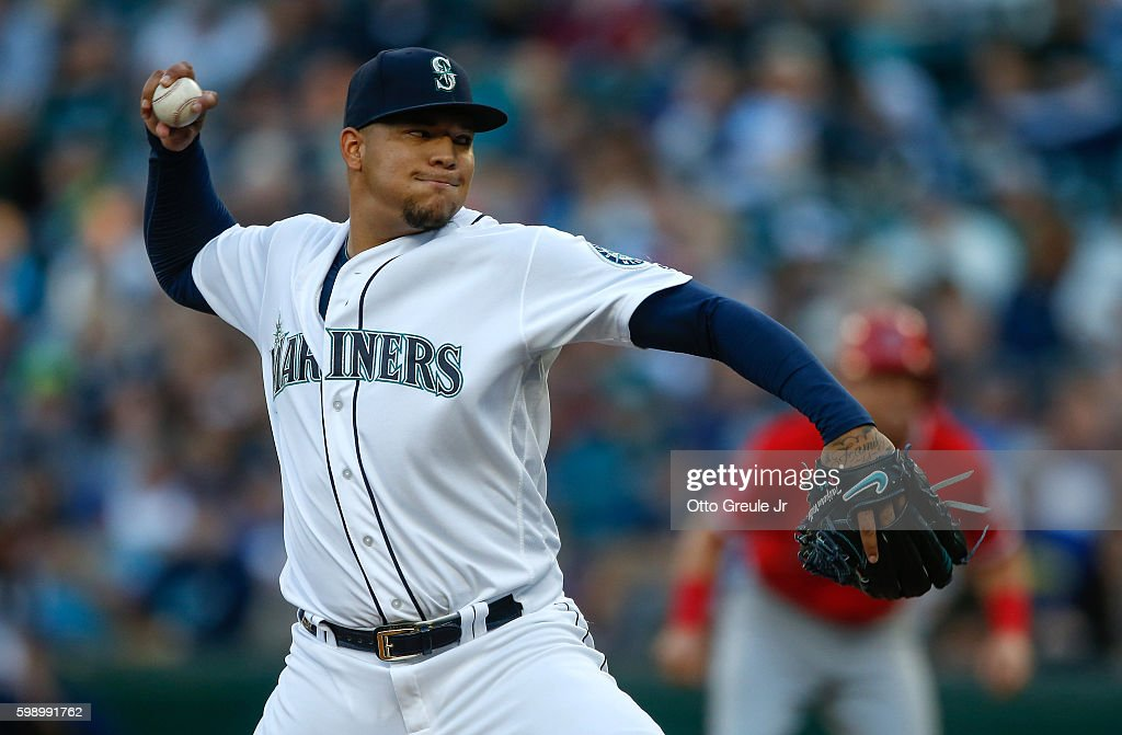 Starting pitcher Taijuan Walker #44 of the Seattle Mariners pitches against the Los Angeles Angels of Anaheim in the first inning at Safeco Field on September 3, 2016 in Seattle, Washington.