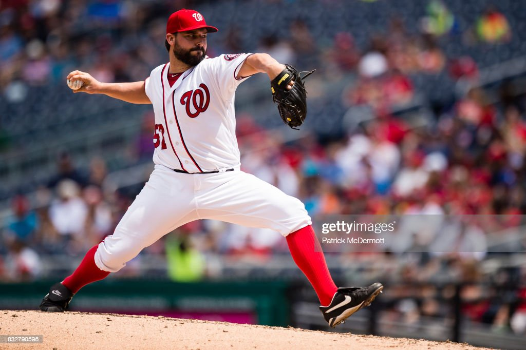 Starting pitcher Tanner Roark #57 of the Washington Nationals throws a pitch to a Los Angeles Angels of Anaheim batter in the fourth inning during a game at Nationals Park on August 16, 2017 in Washington, DC.