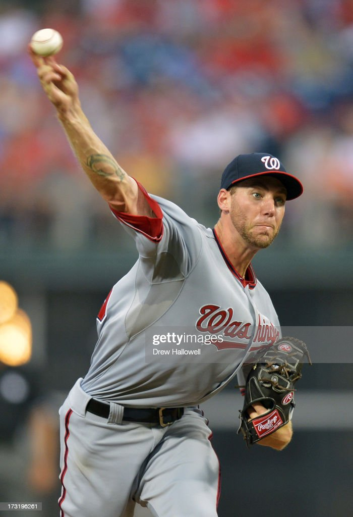 Starting pitcher Taylor Jordan #38 of the Washington Nationals delivers a pitch against the Philadelphia Phillies at Citizens Bank Park on July 9, 2013 in Philadelphia, Pennsylvania.