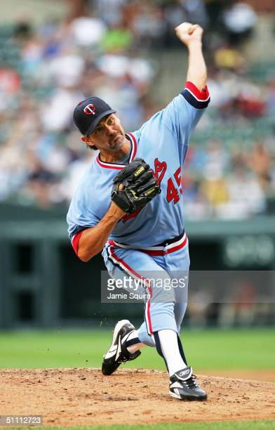 Starting pitcher Terry Mulholland of the Minnesota Twins pitches during the game against the Baltimore Orioles at Camden Yards on July 24 2004 in...