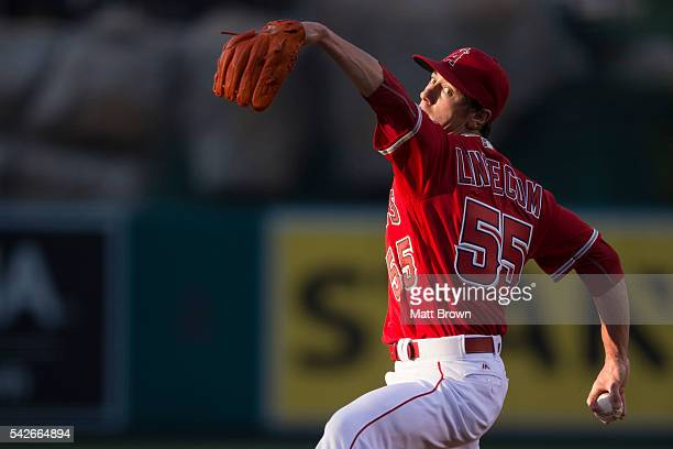 Starting pitcher Tim Lincecum of the Los Angeles Angels of Anaheim pitches during the first inning of the game against the Oakland Athletics at Angel...
