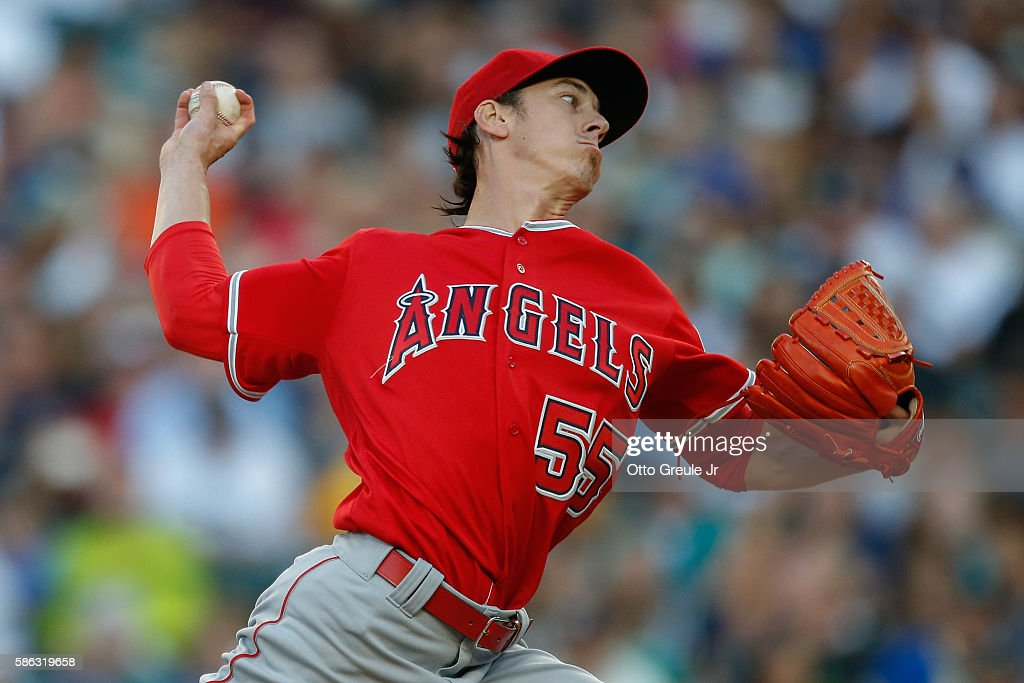 Starting pitcher Tim Lincecum #55 of the Los Angeles Angels of Anaheim pitches against the Seattle Mariners in the first inning at Safeco Field on August 5, 2016 in Seattle, Washington.